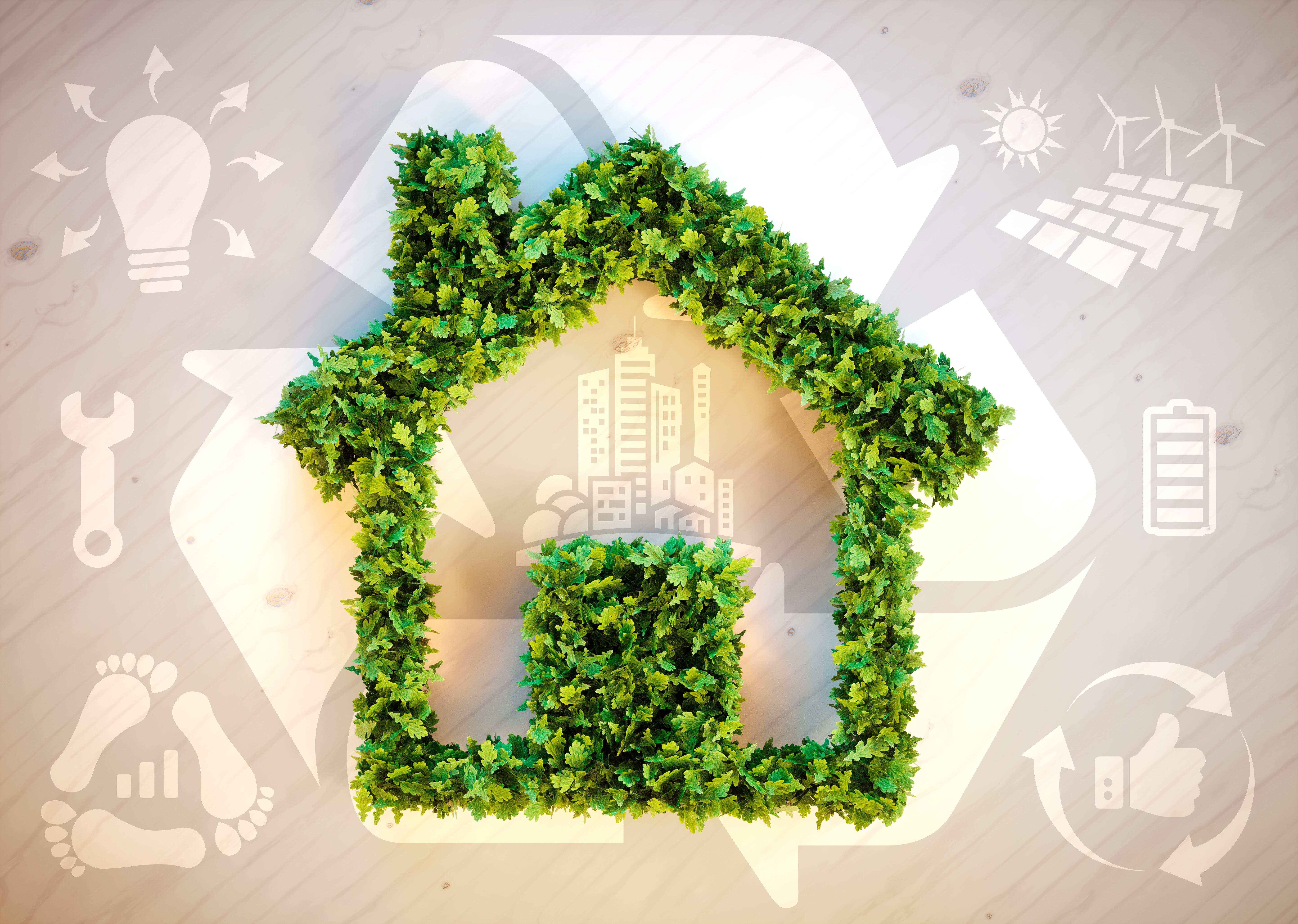 Illustration grönt hus