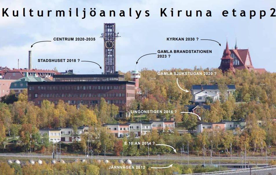 Kulturmiljöanalys Kiruna etapp 2 med pilar som pekar på olika byggnader som påverkas av stadsomvandlingen