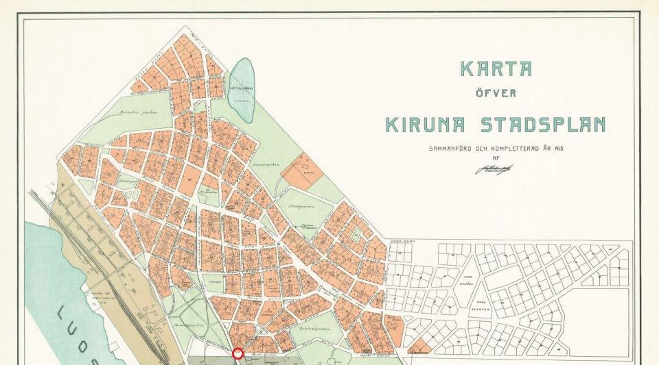 Urklipp ur Kiruna stadsplan från 1915