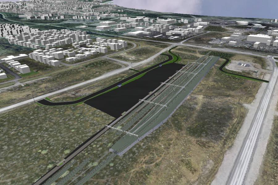 Trafikverket har nu tagit ställning i frågan om den nya järnvägsstationens placering i Kiruna. Illustration: Trafikverket