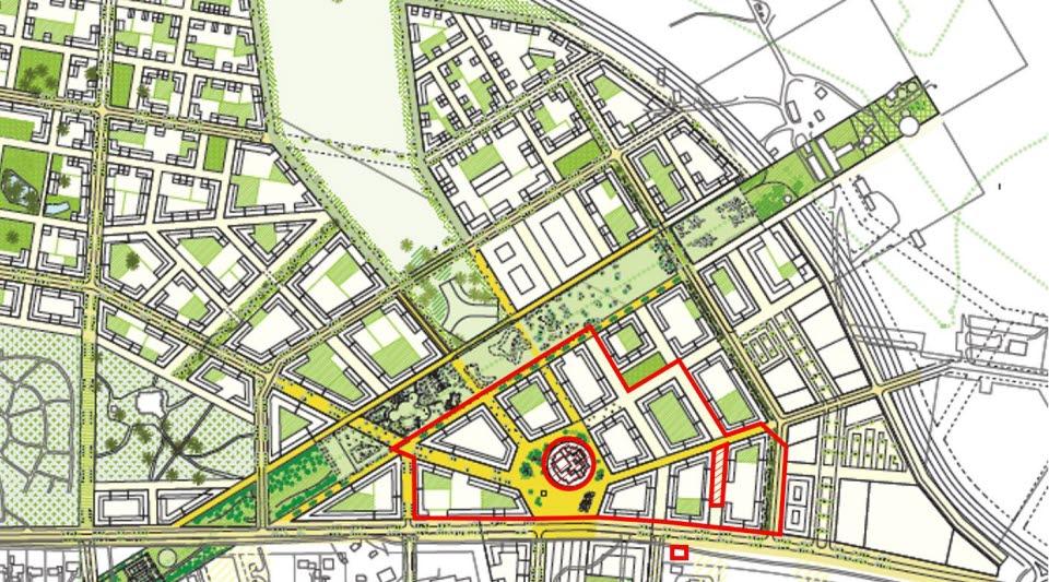 Utdrag ur Kiruna utvecklingsplan. Planområdet är markerat. Det skrafferade cirkulära området är detaljplanelagt för stadshuset. Det skrafferade rektangulära området är undantaget från antagandet.