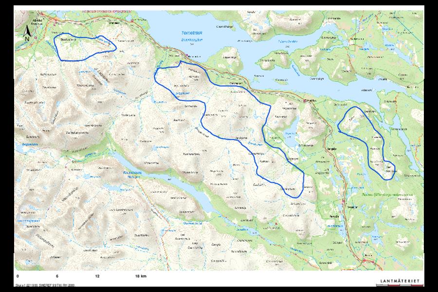 Karta över renbetesområde.