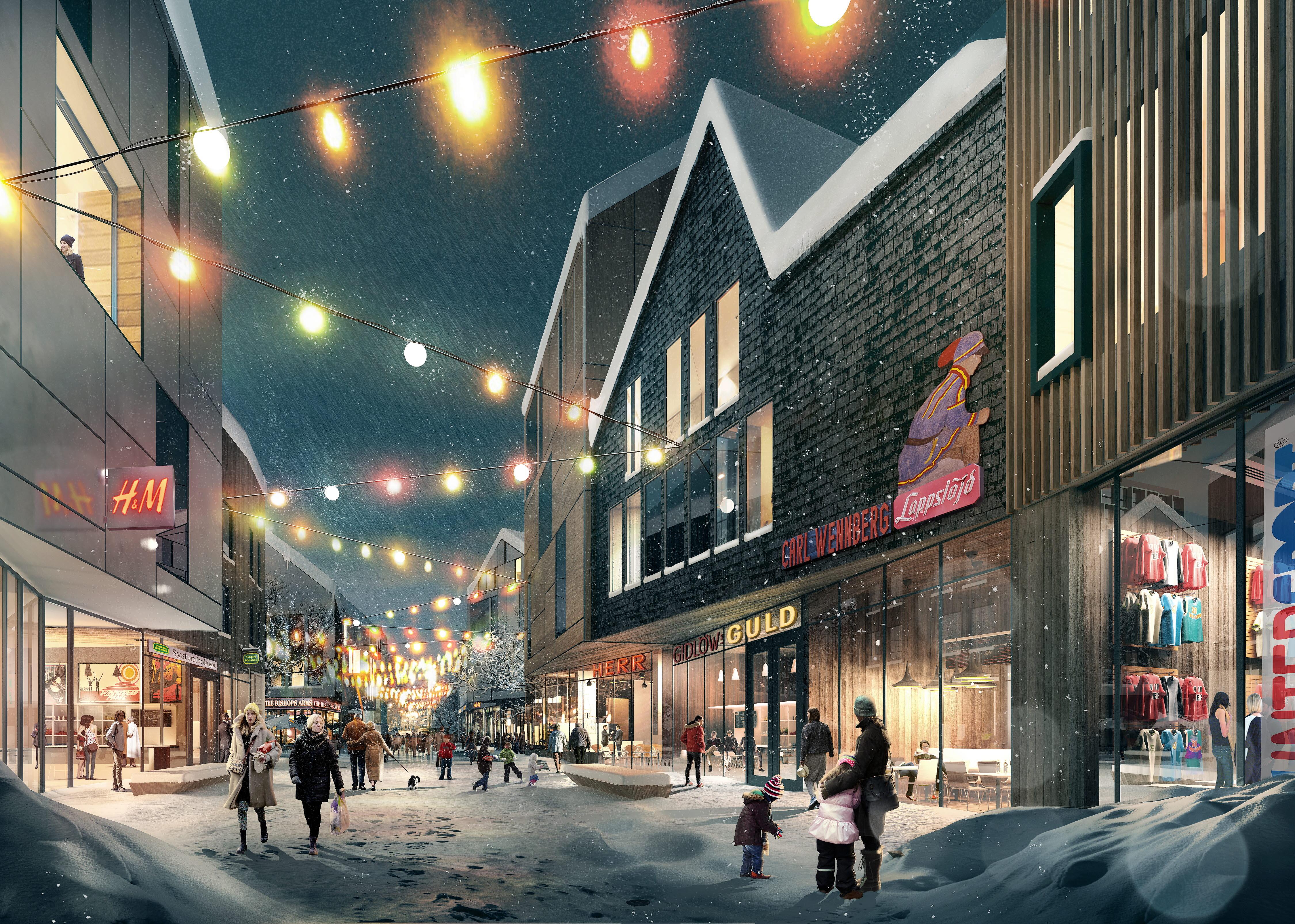 Illustration av nya Kiruna: White arkitekter och Ghilardi + Hellsten arkitekter.