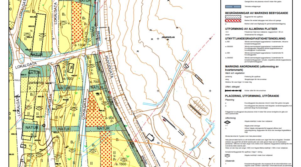 Så här kan en plankarta se ut. Den innehåller symboler och text som visar hur marken får nyttjas.