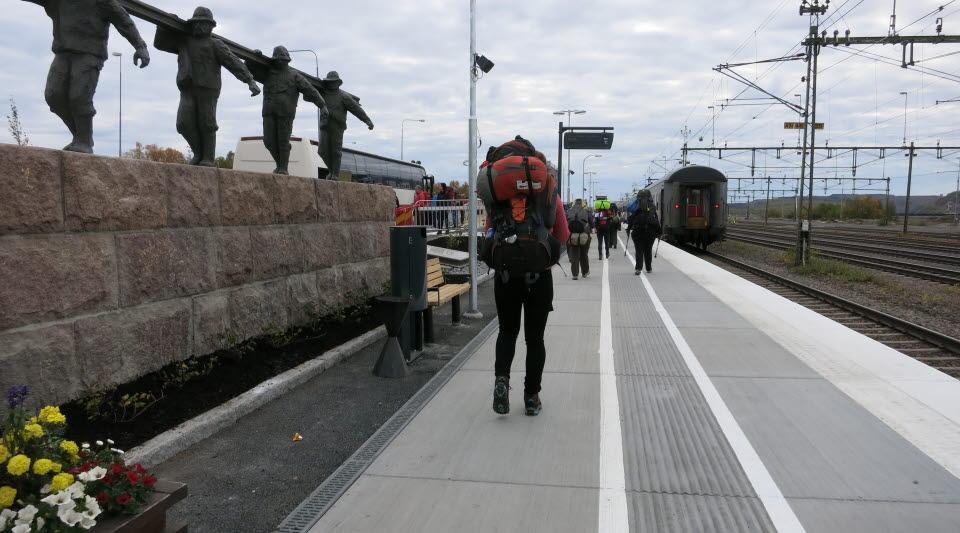 Den tillfälliga tågstationen i Kiruna. Foto: Marianne Nordmark