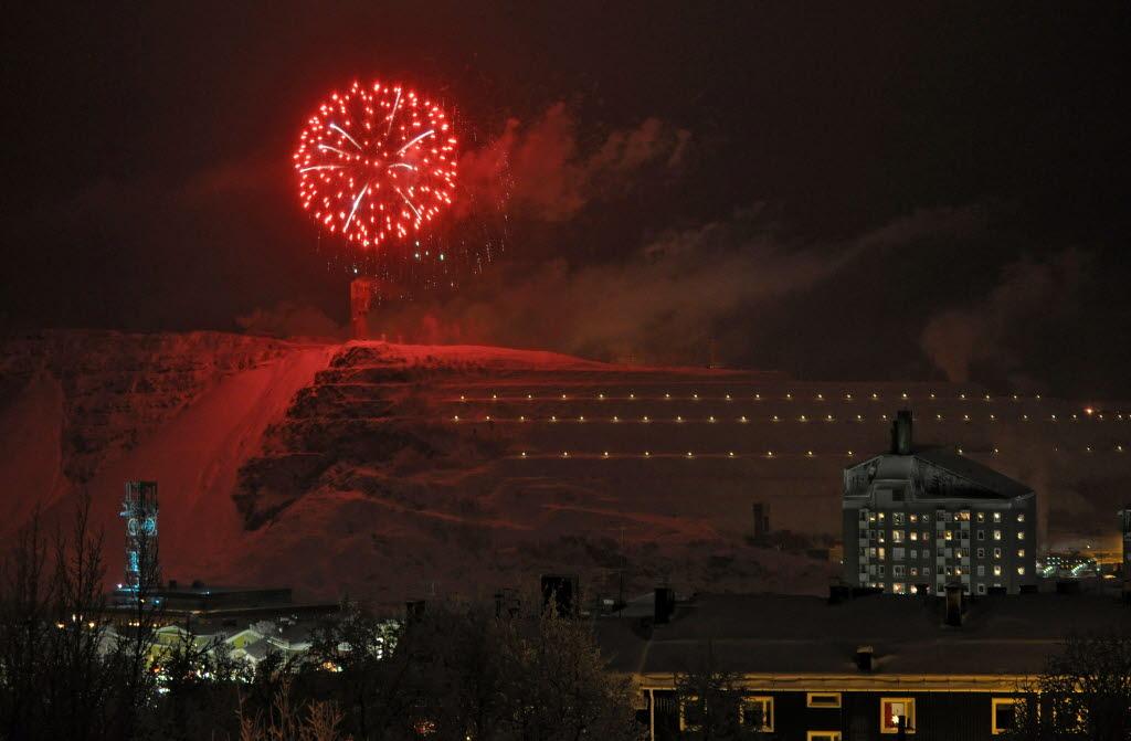 Fyrverkerier ovanför LKAB. Foto: Kjell Törmä