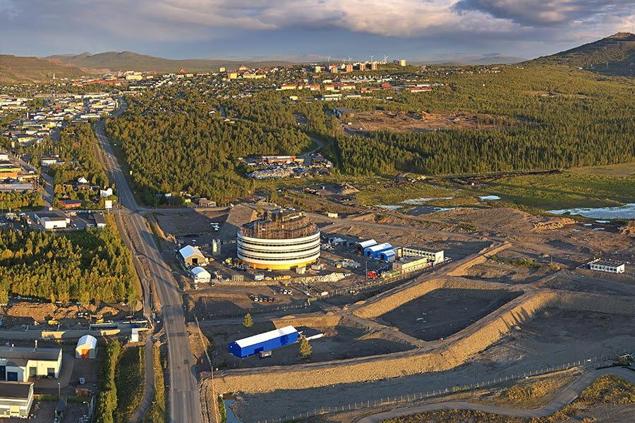 Drönarbild över Kiruna. Foto: Tomas Utsi.