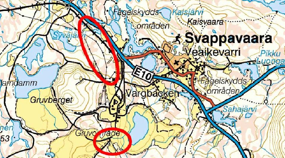 Berörda områden markerade med rött