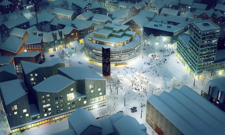 Illustration av nya Kiruna: White arkitekter